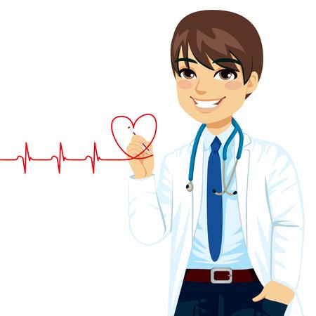 Arts het tekenen van een rood hart elektrocardiogram met pen op virtueel scherm