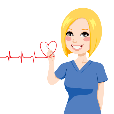 nurse uniform: Nurse drawing a red heart electrocardiogram with pen on virtual screen
