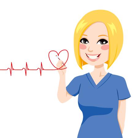 Verpleegkundige het tekenen van een rood hart elektrocardiogram met pen op virtueel scherm Stock Illustratie