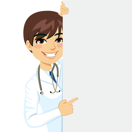 Happy smiling professional male doctor peeking out of a blank billboard sign Ilustrace