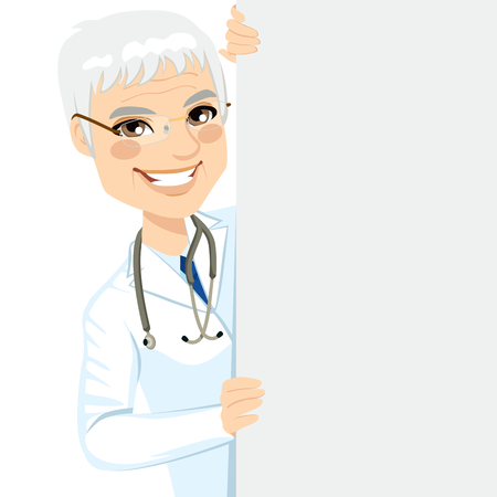 medical staff: Happy smiling professional senior male doctor peeking out of a blank billboard sign