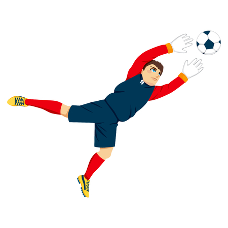 Illustration of young professional goal keeper jumping to catch the ball Vector