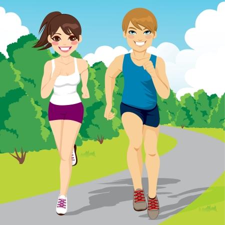 アスリート: 公園で走っている幸せなカップルをジョギング健康な若者のイラスト