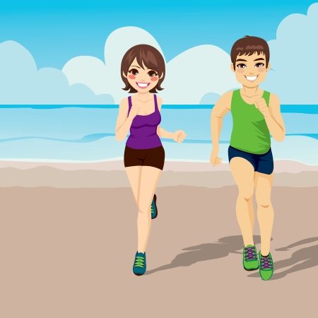 females: Illustration of healthy young jogging couple happy running on the beach