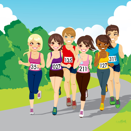 woman run: Group of male and female runners on a beautiful park running a marathon competition