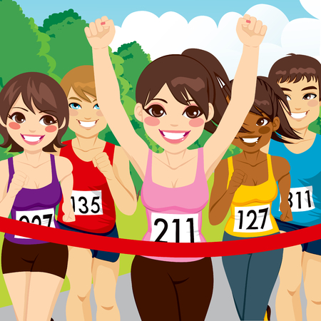 Beautiful brunette female athlete runner woman winning marathon crossing finish line before other runners