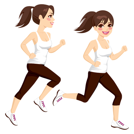 exercise cartoon: Side view full body beautiful brunette woman on two poses running