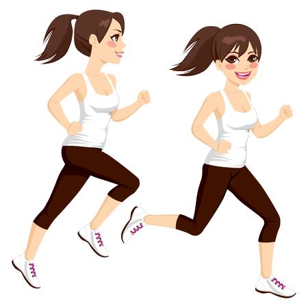 Zijaanzicht full body mooie brunette vrouw op twee poses running Stock Illustratie