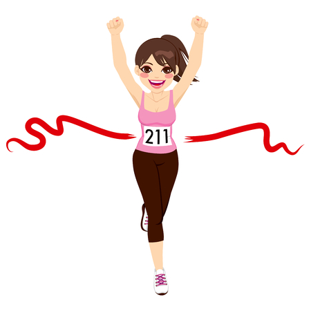 woman running: Beautiful brunette woman crossing red finish line and celebrating victory with fists up Illustration