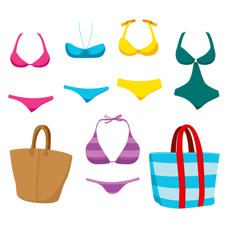 for women: Collection of fashionable summer swim wear clothing elements and accessories for women