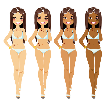 Full body brunette woman in bikini showing tanning tones from natural to dark tan