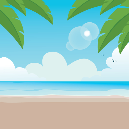 Illustration of paradisaical tranquil beach background scene with palm trees