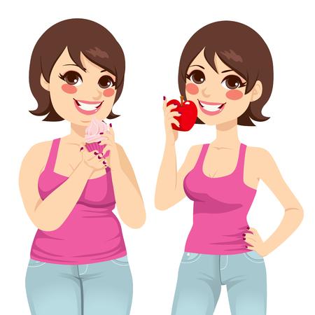 mujer gorda: Mujer gorda sonriente que sostiene una magdalena dulce y hermosa mujer delgada sosteniendo un concepto de dieta saludable de frutas frescas