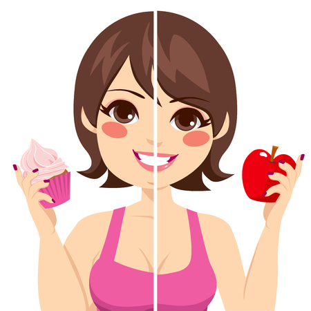 Illustration of woman face split before and after diet