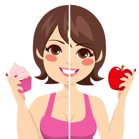 eating food: Illustrazione del volto di donna divisa prima e dopo la dieta