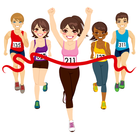 Female runner winning a marathon against other active competitors touching red finish line Vector
