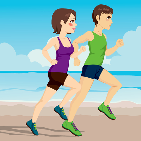 side profile: Side view illustration of young couple running together on the beach Illustration