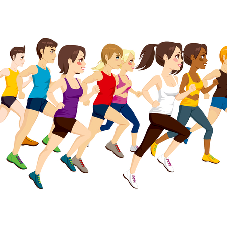 brown haired: Side view illustration of group of athletes running on marathon competition