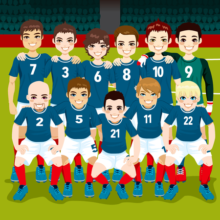 Full soccer team posing on soccer field ready to play Vector