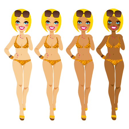 Full body blonde woman in tiger bikini showing tanning tones from natural to dark tan Illustration