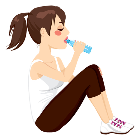 bottled water: Beautiful brunette woman drinking a bottle of water while resting sitting