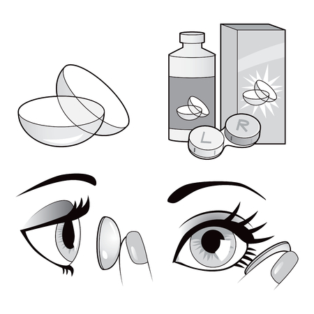 contact icons: Black and white eye contact lenses elements collection with actions applying contacts to the eye