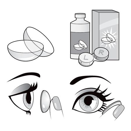 lentes de contacto: Colección lentes de blanco y negro del contacto visual con elementos de las acciones aplicando los contactos para el ojo Vectores