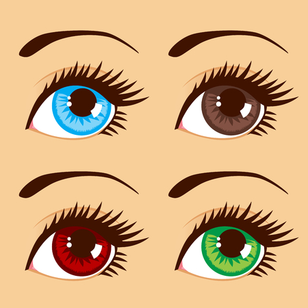 eyebrow makeup: Close up illustration of four eyes with different eye colors