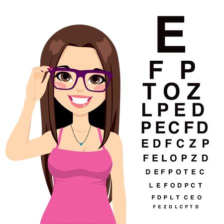 sklo: Krásná mladá dívka s brýlemi čtení pohled zkušební znaky na očního lékaře
