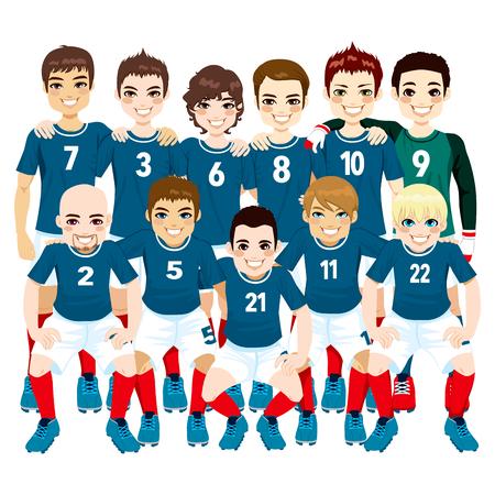 futbol soccer dibujos: Ilustración del hombre profesional equipo jugadores de fútbol en uniforme azul aislado en fondo blanco Vectores