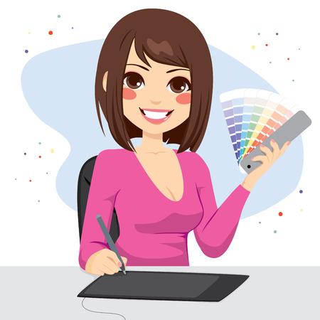 Bella graphic designer femminile che mostra la tabella di colore pantone tavolozza Vettoriali
