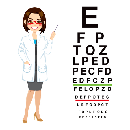 oculist: Beautiful professional female optician pointing to snellen chart isolated on white background