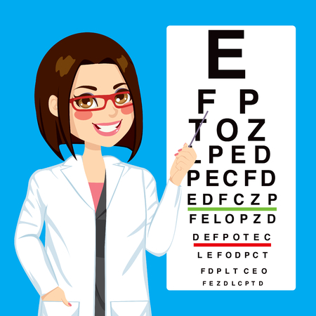 Portret illustratie van jonge mooie optometrist vrouw wijst naar test visie grafiek snellen Stock Illustratie