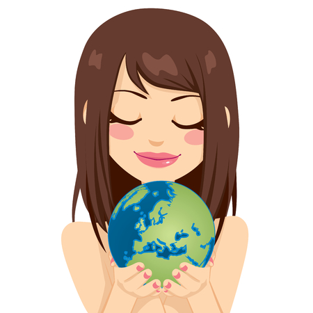 Beautiful young brunette woman holding earth globe showing European continent with her hands Stock Vector - 26168560