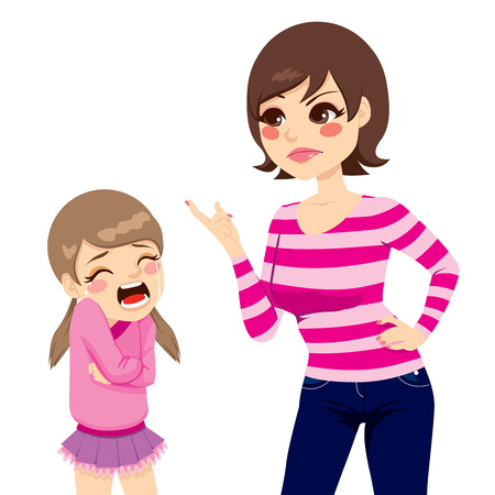 crying child: Illustration of upset young mother scolding little crying girl
