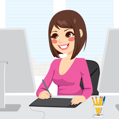 Beautiful digital artist woman working with graphic tablet on computer Vector