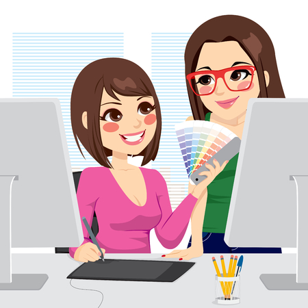 Beautiful female graphic designer picking colors from pantone palette with her assistant Vector