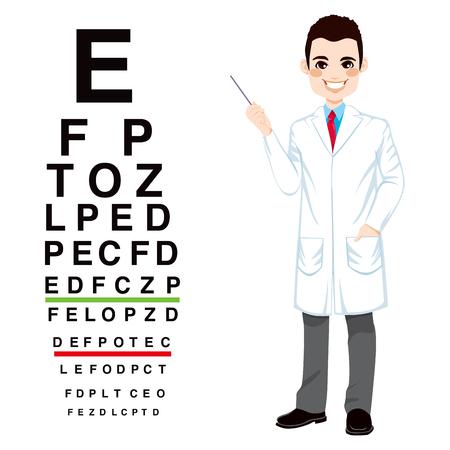 oculista: Confía en que apunta óptica profesional masculino de Snellen aisladas sobre fondo blanco
