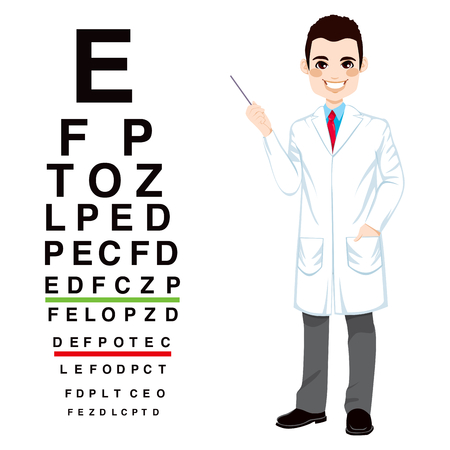 snellen: Confident professional male optician pointing to snellen chart isolated on white background