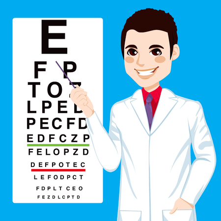 eyesight: Portrait illustration of young handsome optometrist man pointing to snellen test vision chart