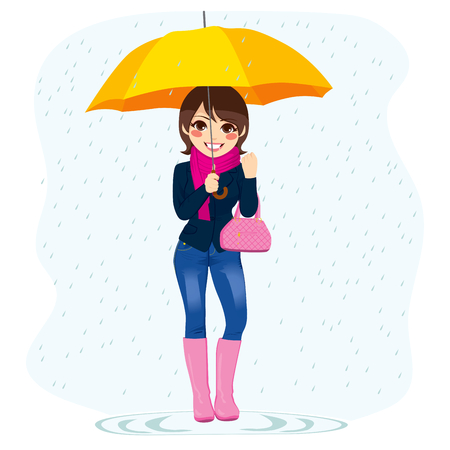 Illustration of young beautiful fashionable woman standing in the rain holding yellow umbrella Vector
