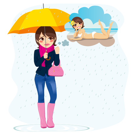 scarf beach: Beautiful sad woman standing in the rain longing for sunny summer beach vacations Illustration