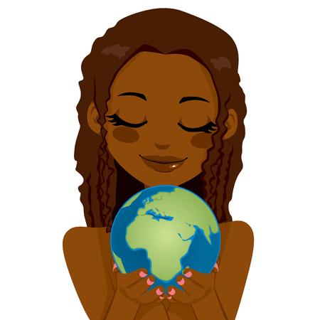 Hermosa mujer africana mundo que sostienen la tierra que muestra África, Oriente Medio y el continente europeo con las manos