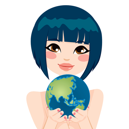 Cute Asian woman holding earth globe showing Asian continent with her hands Vektorové ilustrace