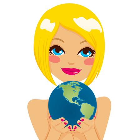 continente americano: Mujer con lindo globo de la tierra americana con sus manos mostrando continente americano