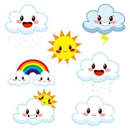 Colección de elementos del tiempo lindo de dibujos animados que muestra los diferentes conceptos de meteorología