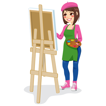easel: Beautiful painter artist woman holding palette and painting on canvas on easel