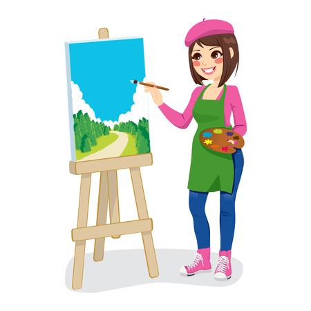 Mooie kunstenaar vrouw schilderij groen park op canvas Stock Illustratie