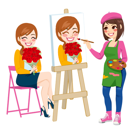 artist painting: Beautiful artist woman painting portrait of happy woman holding flower bouquet on canvas