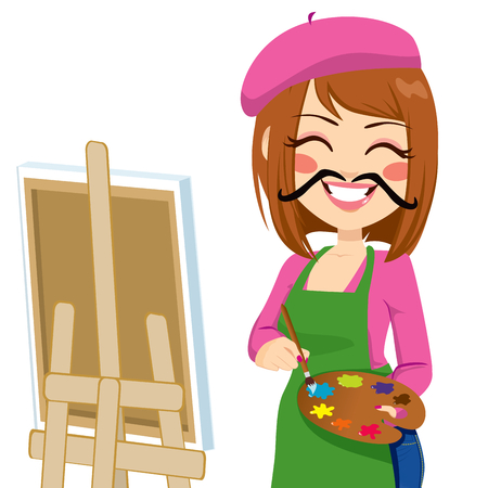 artist painting: Happy brunette artist woman with funny mustache painting with colorful palette